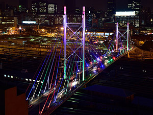 Mandela Bridge at night