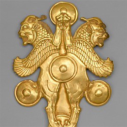 Gold griffin belt buckle
